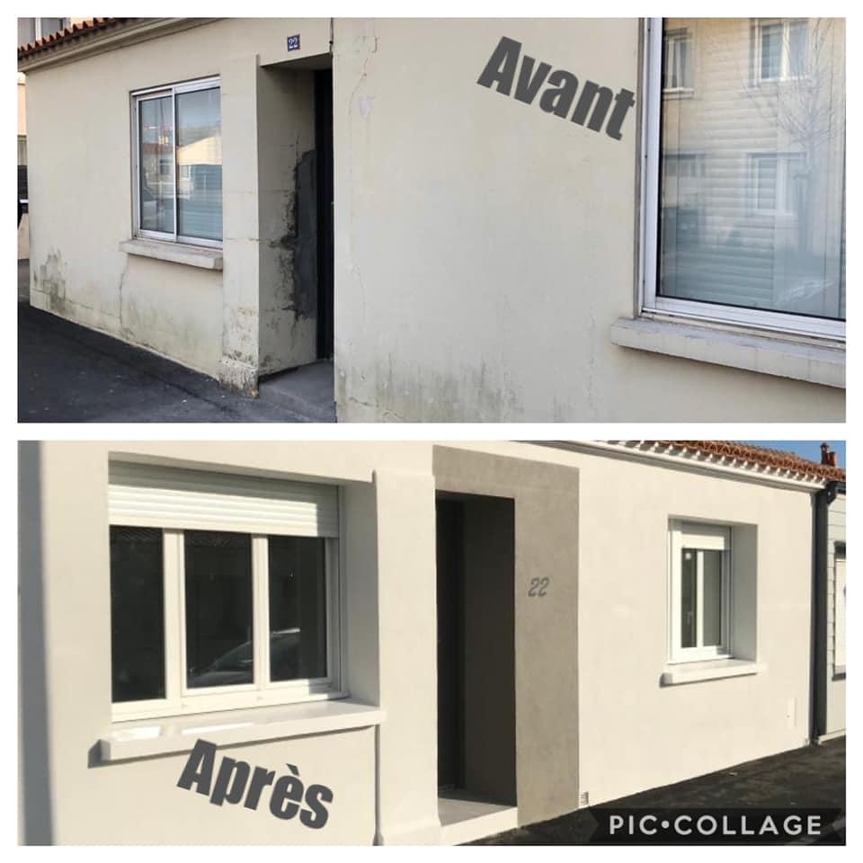 Ravalement de façade avant-après par Florian Laborieux en Vendée